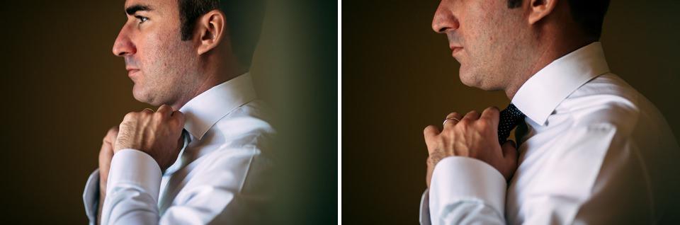 elegante sposo in camicia e cravatta
