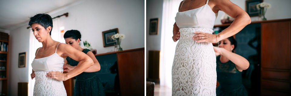 abito spezzato da sposa bianco