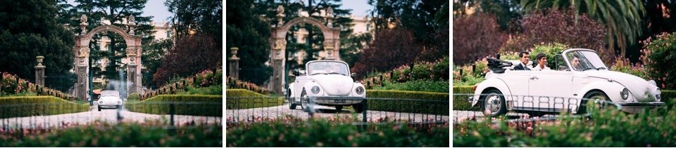 matrimonio in villa faraggiana con ingresso della sposa in maggiolone bianco cabriolet