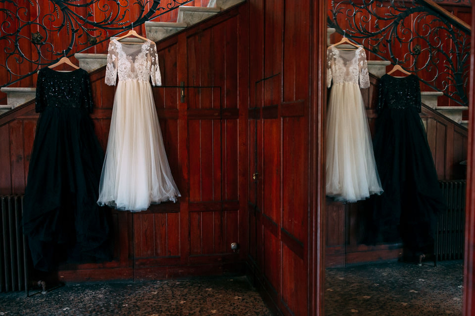 white and black wedding dresses