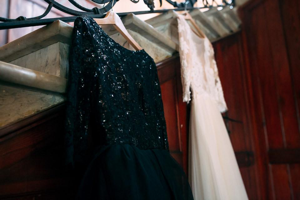 eleganti abiti da sposa in colore bianco e nero