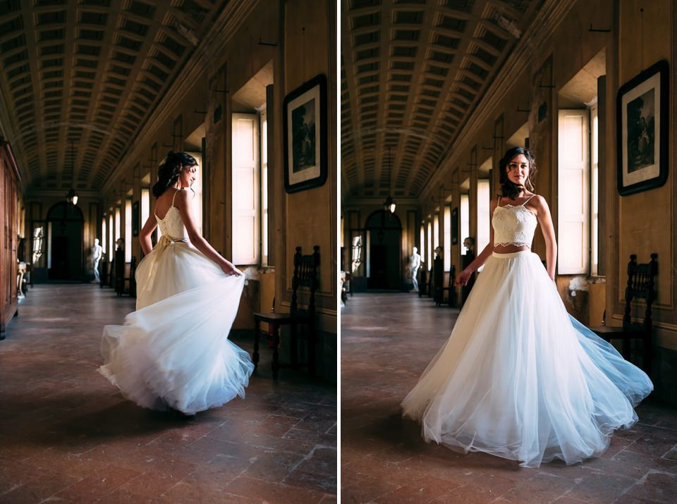 elegant bride with a white lugo dress