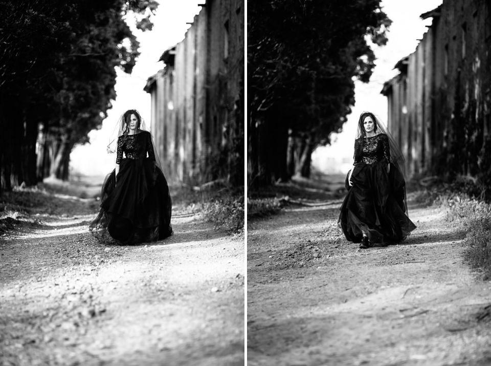 bellissima sposa in abito nero cammina nel moferrato