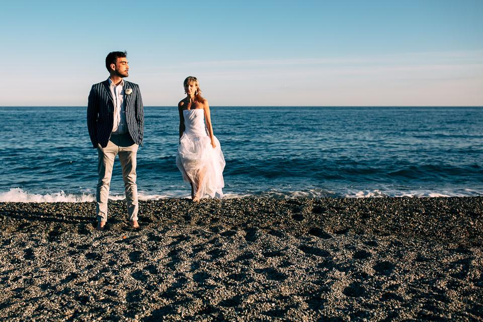 matrimonio al tramonto al mare