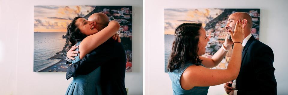 emozioni di famiglia in casa dello sposo a Positano