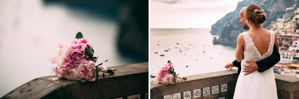 bouquet matrimoniale posaflora di positano di rose bianche e rosa