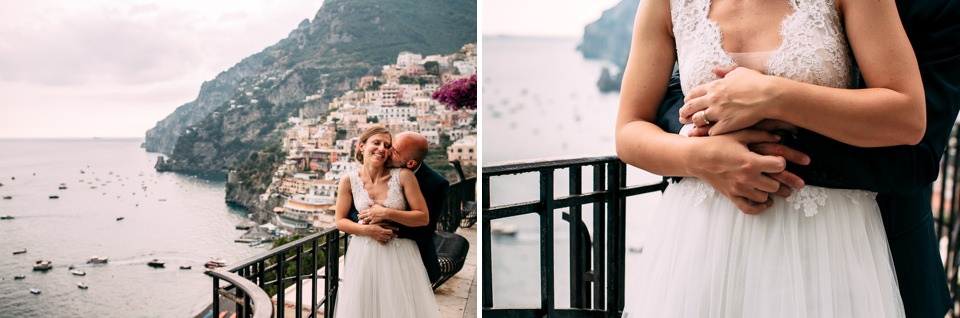 couple in love with newlyweds overlooking the sea of Positano, Amalfi Coast