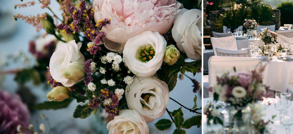 allestimento floreale cà de sciua al paradiso di manù per un matrimonio in terrazza con vista mare