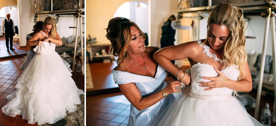 vestizione sposa con abito bianco atelier ego Savona