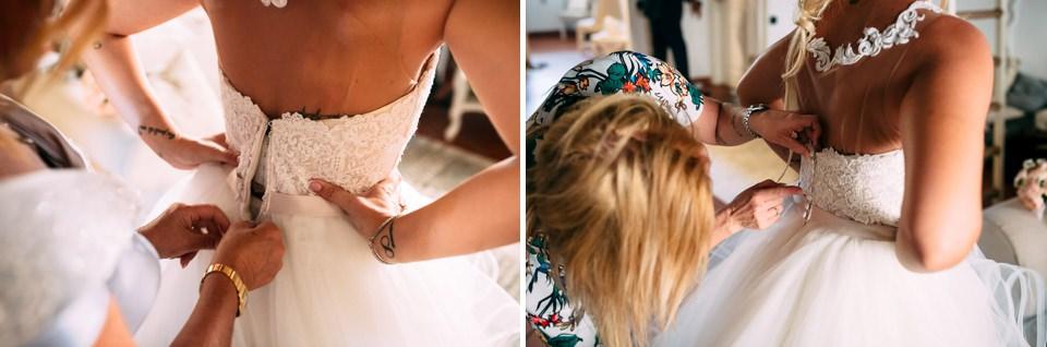 dettaglio di un vestito da sposa bianco