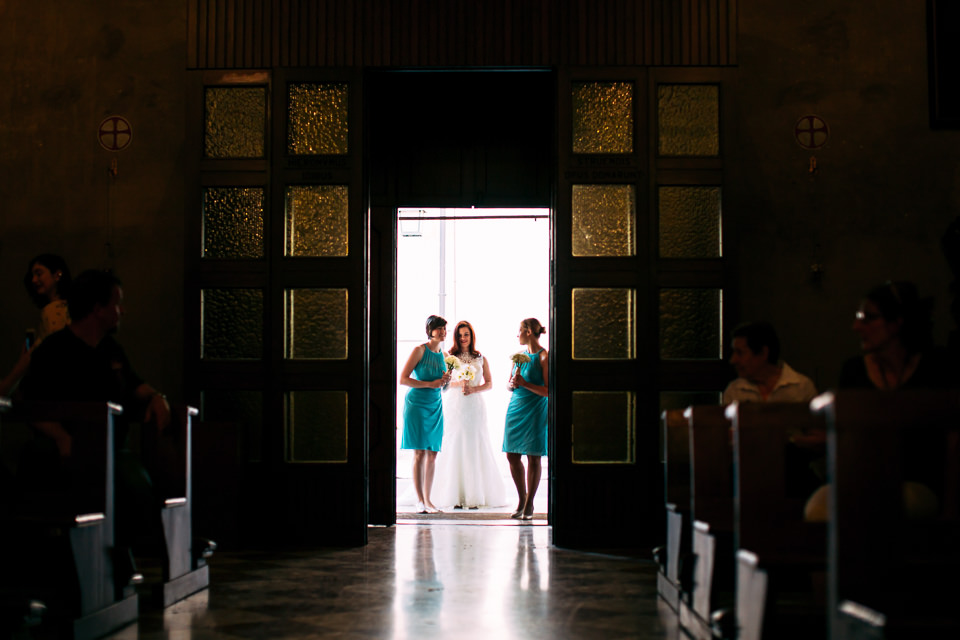 Irish bride and bridesmaids in emerald dress
