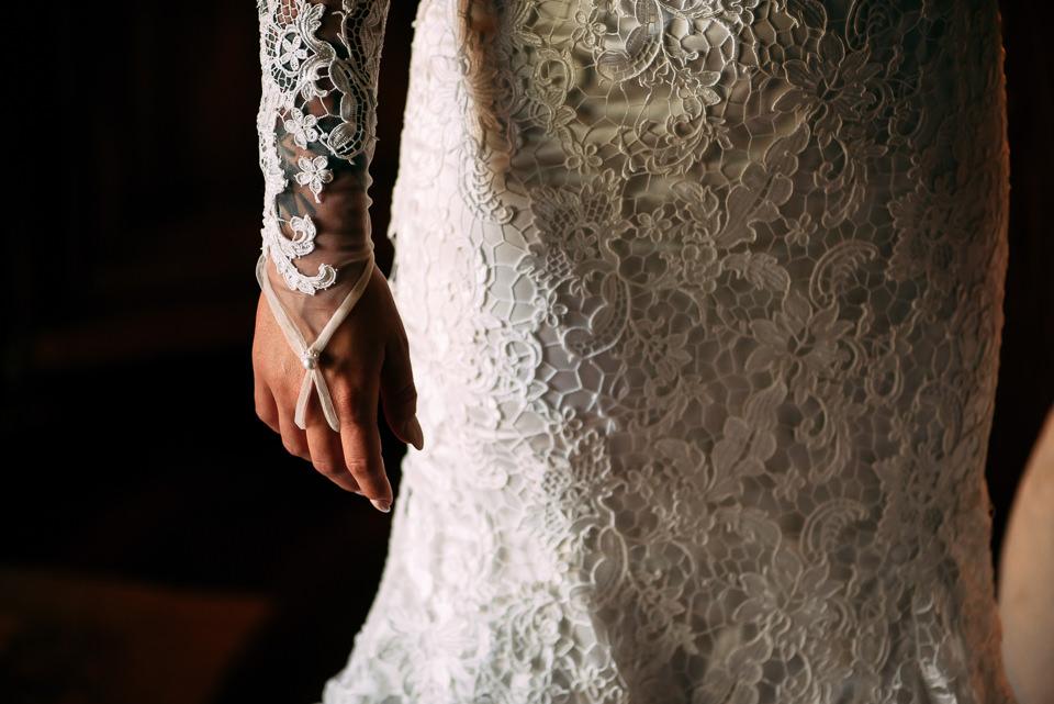 polsiera in pizzo bianco abito da sposa