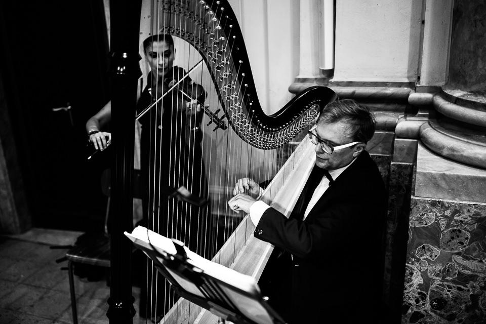 marcia nuziale acustica, arpa e violino