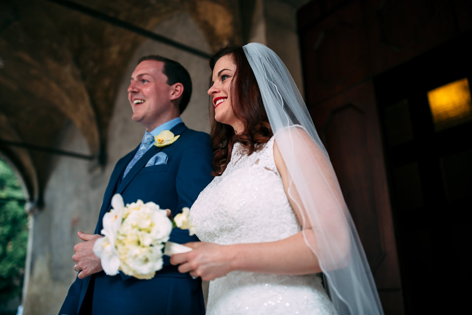 Irish newlyweds come out of the church