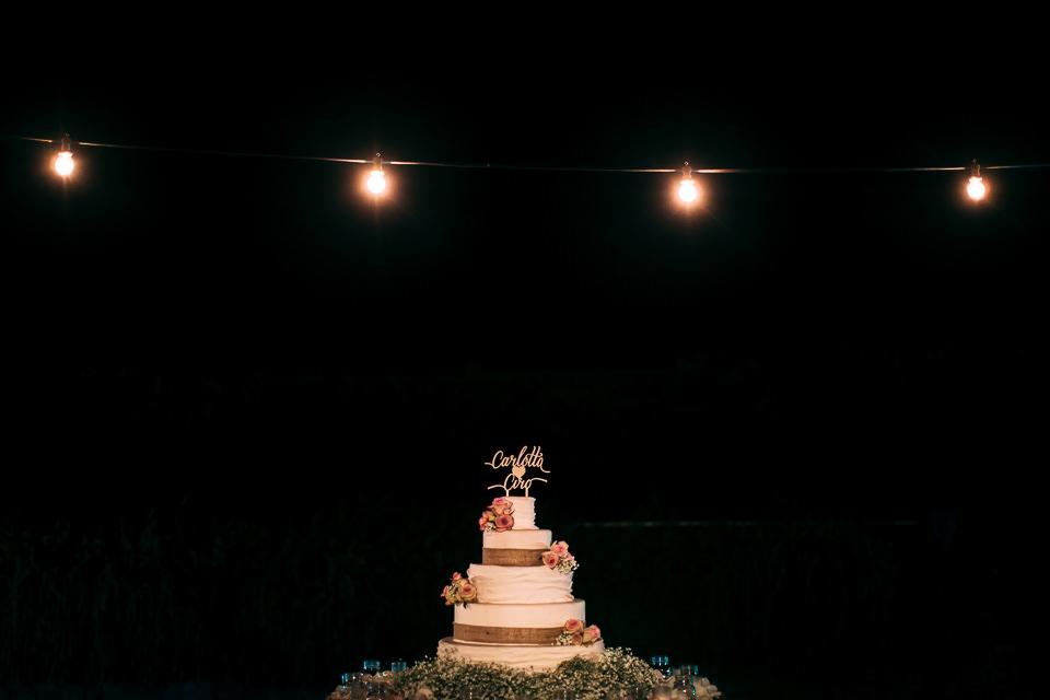 torta nuziale con lucine country chic