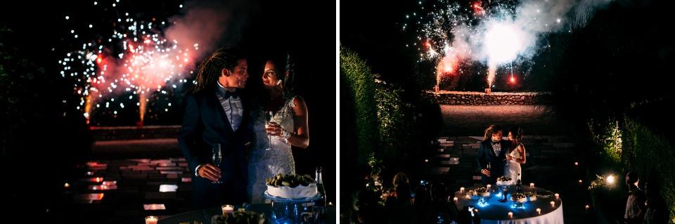 brindisi con fontane luminose a villa sati