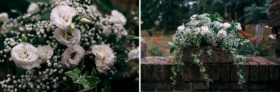allestimento floreale con rose bianche