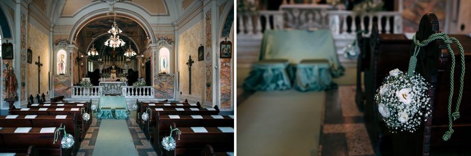 allestimenti in chiesa prima della cerimonia nuziale