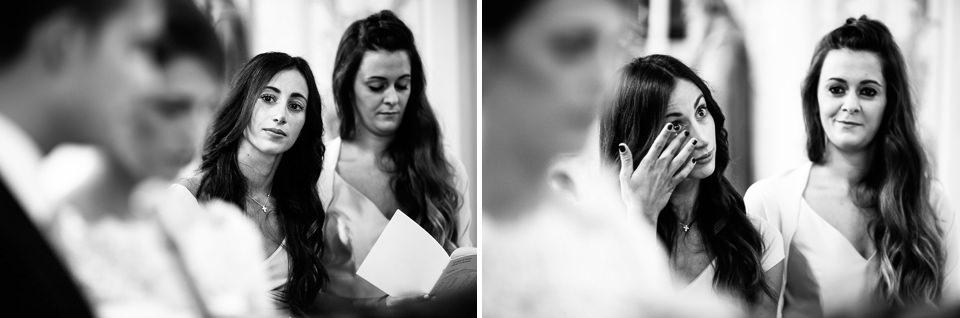 testimone della sposa in lacrime
