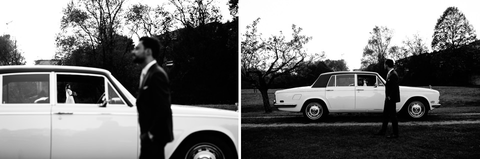 elegante macchina bianca d'epoca per matrimonio
