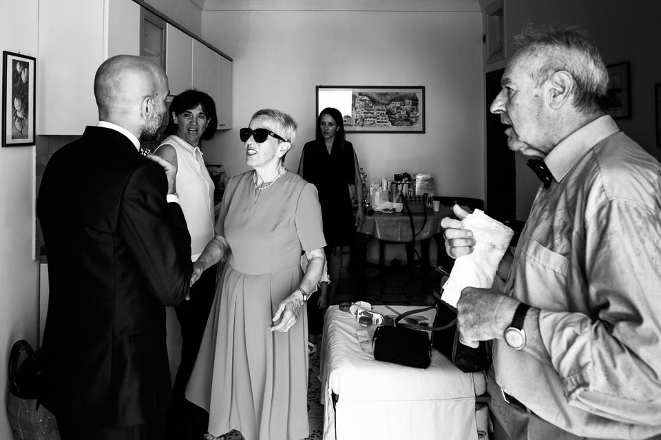 la famiglia dello sposo a Positano