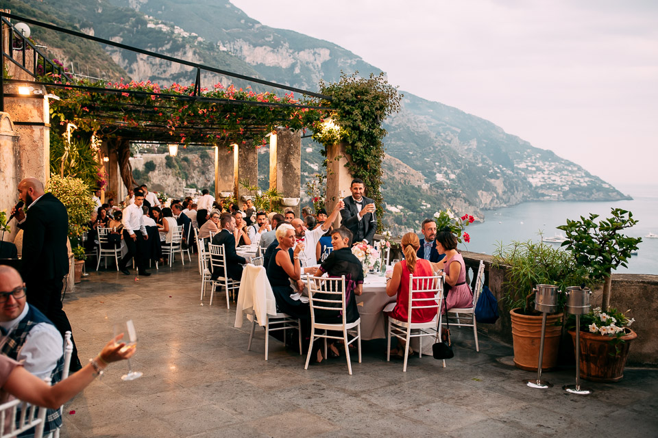 wedding dinner on a seaside terrace on the Amalfi coast