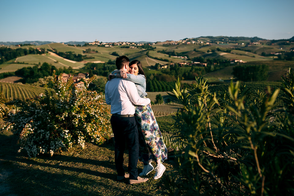 newlyweds in love in the hills of the famous Langhe