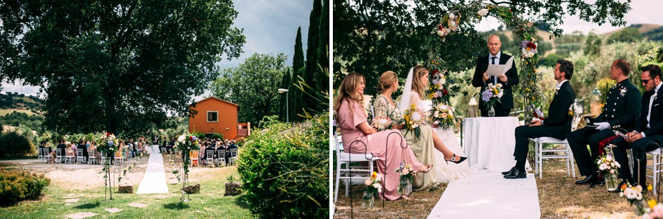 wedding in an outdoor civil ceremony in Tuscany