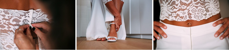 sposa in top bianco e pantalone